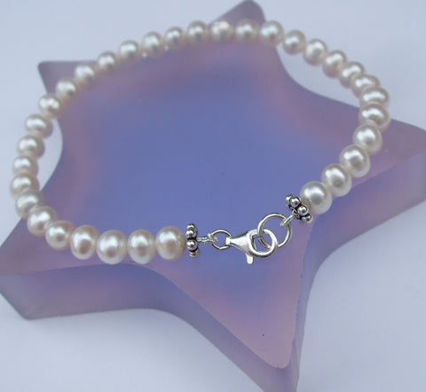"CLASSIC FRESHWATER PEARL BRACELET  ""NOUVEAU"" (Sterling Silver or Goldfill)"