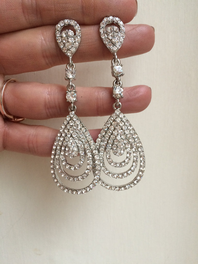 "CZ STATEMENT TEARDROP WEDDING EARRINGS CUBIC ZIRCONIA 3"" long ""RENAISSANCE"""