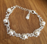 "DIAMANTE AND PEARL BRIDAL BRACELET ""SNOW QUEEN"""
