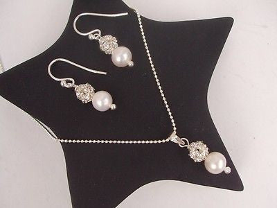 Freshwater pearl drop jewelry set - Snowdrop
