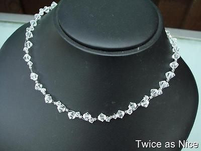 "clear Swarovski crystal bridal necklace ""Dancing Ice"""