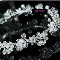 Designer flower wedding bracelet clear crystals and rhinestones by Sherocksbridaljewellery.com