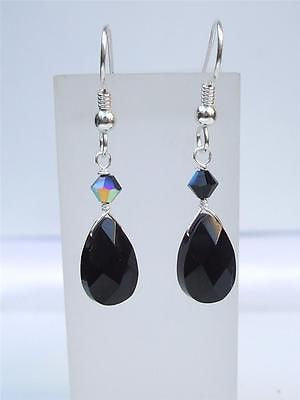 Handmade Black Onyx teardrop earrings with Swarovski crystals - Sterling Silver