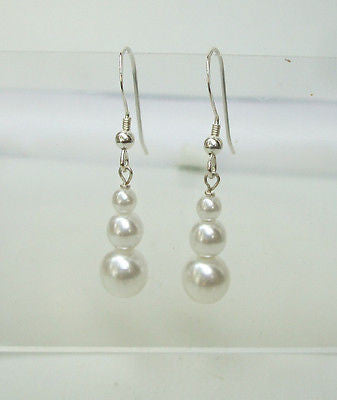 "TRIPLE PEARL DROP WEDDING EARRINGS ""TIFFANY'S"""