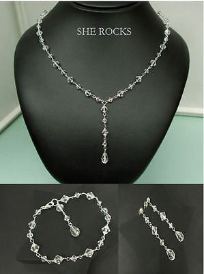 Clear Swarovski crystal bridal jewelry set - Flair