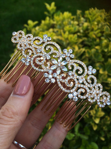 "VINTAGE STYLE DIAMANTE GOLD BRIDAL HAIR COMB  ""VERSAILLES"""