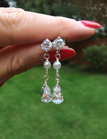 "DIAMANTE AND PEARL WEDDING EARRINGS ""ANTOINETTE"""