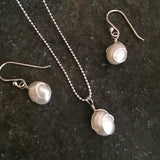 "STERLING SILVER WHITE BAROQUE FRESHWATER PEARL JEWELLERY SET WIRE WRAPPED ""SOPHIE"""