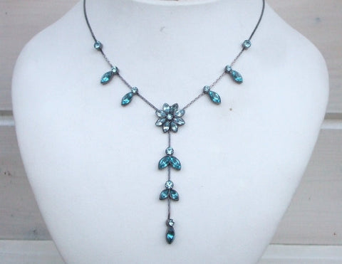 Teal blue crystal flower drop necklace - Blue Daisy - sherocksbridaljewellery.com