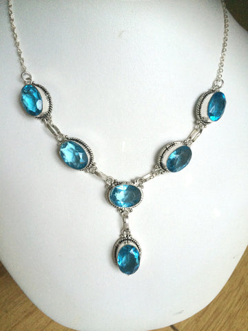 "BLUE AQUAMARINE QUARTZ NECKLACE ""BELISSIMO"""