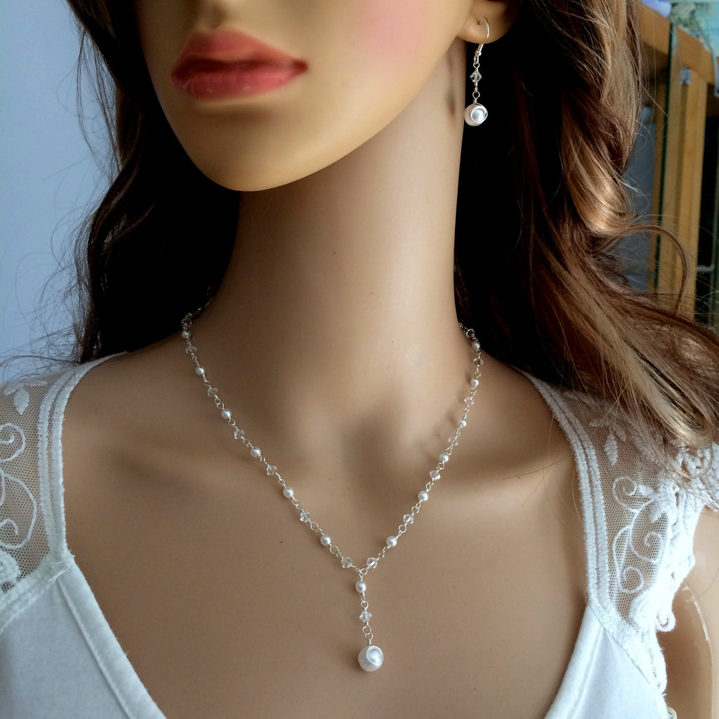 Swarovski crystal and pearl bridal jewellery set from She Rocks bridal jewellery