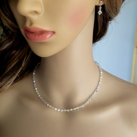 "TINY CLEAR AB SWAROVSKI CRYSTAL BRIDAL CHOKER NECKLACE ""CASCADE"""