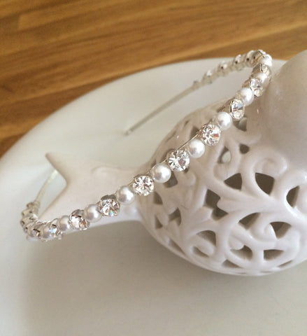 "Simple Pearl and diamante headband ""Cinderella"" from Sherocksbridaljewellery"