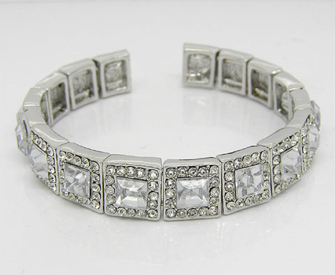 "DIAMOND CRYSTAL BRIDAL BRACELET BANGLE ""GLOSSY"""