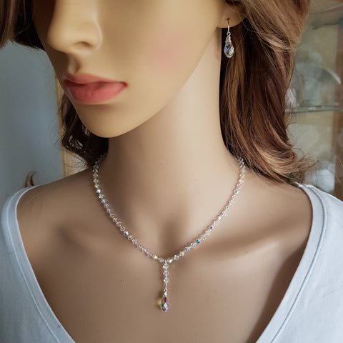 "CLEAR AB SWAROVSKI CRYSTAL DROP BRIDAL NECKLACE AND EARRINGS SET ""CRYSTAL CLEAR"""