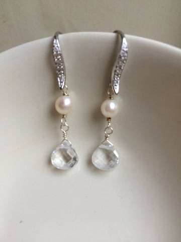 "Diamante Freshwater Pearl and crystal drop Earrings Sterling Silver ""Dewdrops"""