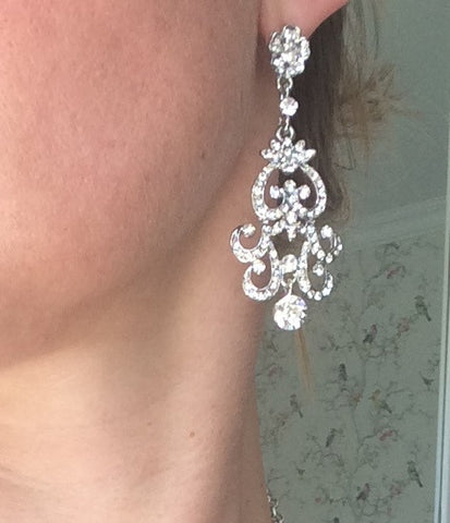 "Vintage diamante chandelier wedding earrings ""Diamond Rose"""