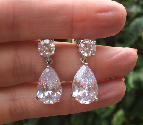 "CLASSIC CZ TEARDROP WEDDING EARRINGS CUBIC ZIRCONIUM ""DIANA"""