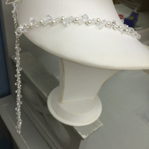 ... Swarovski crystal and pearl back drop bridal necklace