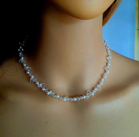 "HANDMADE SWAROVSKI CRYSTAL AND PEARL CLUSTER BRIDAL NECKLACE ""EMILY"""