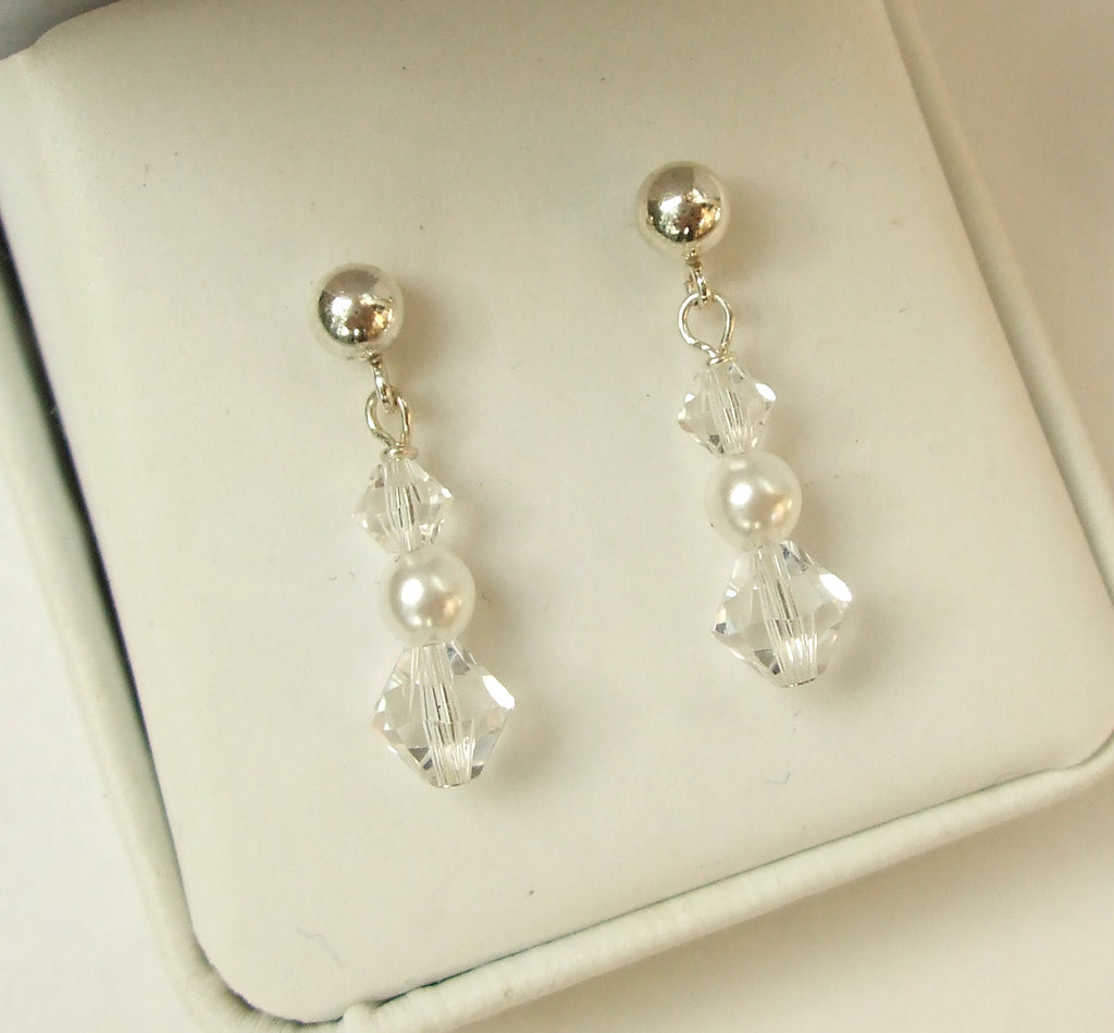 "Small Swarovski crystal and pearl wedding earrings Sterling Silver ""Emily"""