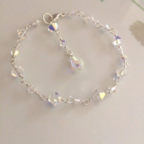 "Handmade clear Swarovski crystal bridal bracelet ""Flair"" (4 colours)"