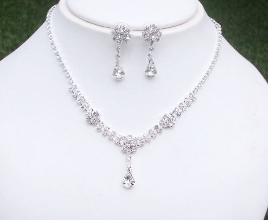 dainty diamante teardrop set - Flower drop from She Rocks wedding jewellery