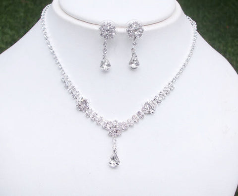 fa4395d39 dainty diamante teardrop set - Flower drop from She Rocks wedding jewellery