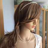 "Freshwater pearl bridal headband ""Understated beauty"""