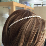 "Simple real pearl bridal headband ""Understated beauty"""