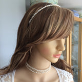 "Simple Freshwater pearl bridal headband ""Understated beauty"""