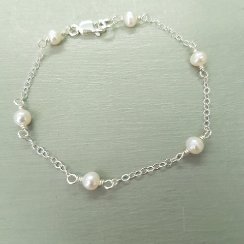 "SMALL FRESHWATER PEARL BRIDAL BRACELET IN STERLING SILVER  ""GODDESS"""