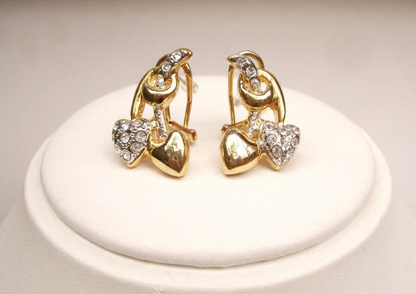 "GOLD HEART AND DIAMANTE EARRINGS ""HEART OF GOLD""  Mother of the bride"