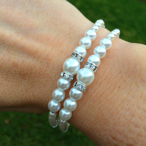 2 strand pearl and diamante wedding bracelet by sherocksbridaljewellery.com