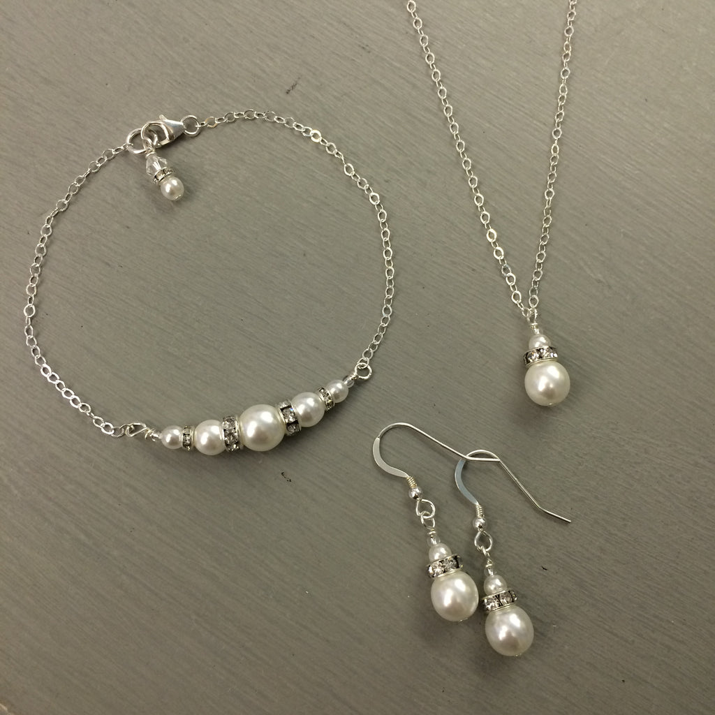 "Sterling Silver pearl and diamante necklace bracelet and earrings wedding jewelry set ""ANNE"""