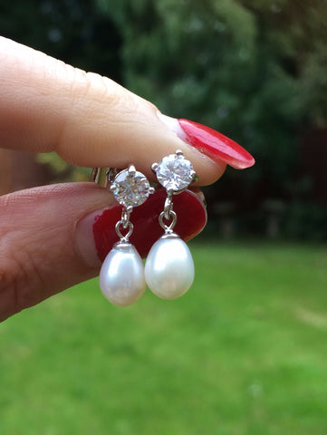 "CZ STUD AND FRESHWATER PEARL EARRINGS STERLING SILVER ""LONDON"""