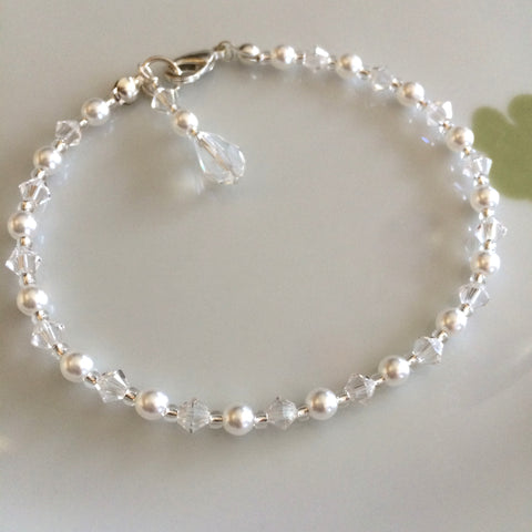 "TINY SWAROVSKI CRYSTAL AND PEARL WEDDING BRACELET ""MARIE LOUISE"""