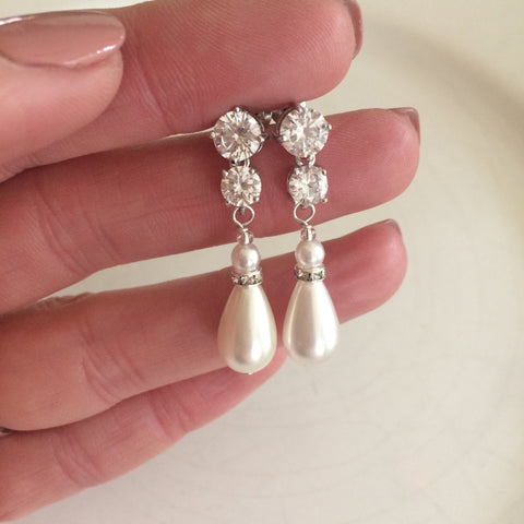 "LONG PEARL DROP WEDDING EARRINGS ON CZ STUDS- ""RENAISSANCE"""