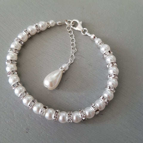"DESIGNER FRESHWATER PEARL AND DIAMANTE BRIDAL BRACELET ""MAJESTIC"""