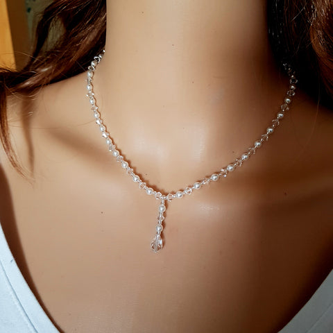 "SWAROVSKI CRYSTAL AND PEARL DROP WEDDING NECKLACE ""MARIE-LOUISE"""