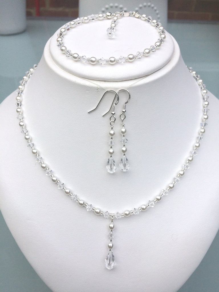 "SWAROVSKI CRYSTAL DROP WEDDING JEWELRY SET  ""MARIE LOUISE"""