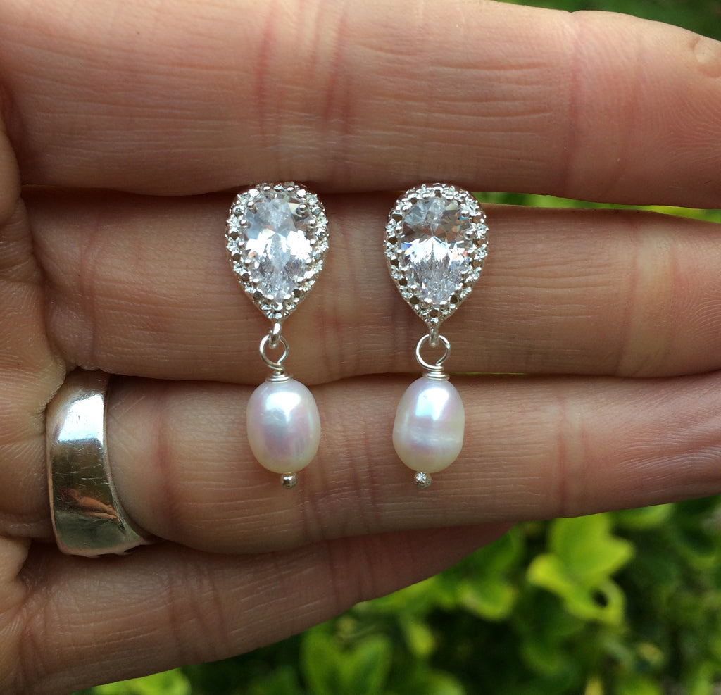 "CZ stud Freshwater pearl drop Wedding Earrings Handmade design - ""MEGAN"""