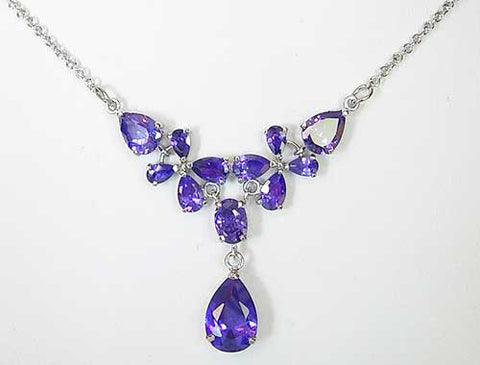 "Purple Swarovski crystal teardrop necklace ""nobility"""