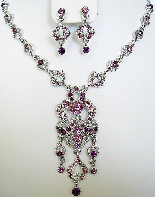 "PURPLE AMETHYST CRYSTAL NECKLACE ""JANE-EYRE"""