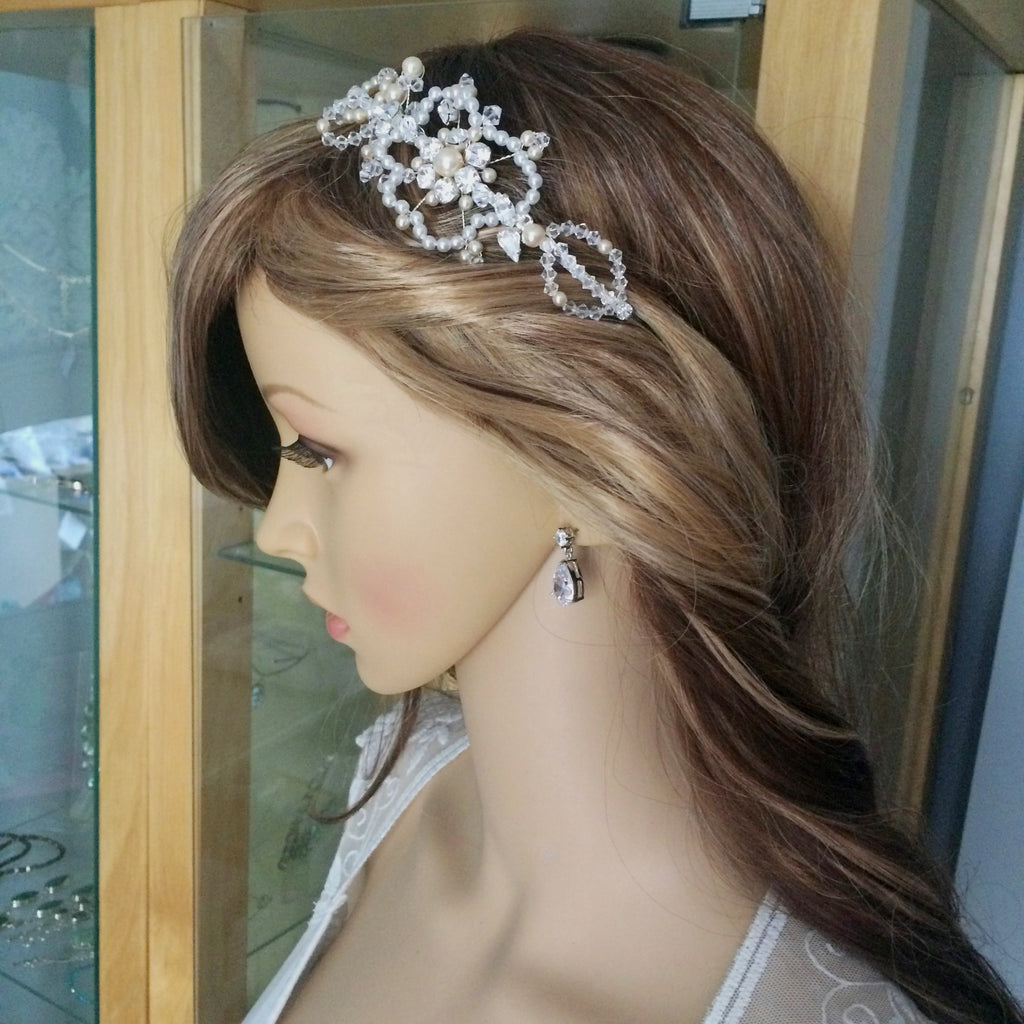 "Pearl and Swarovski crystal Side tiara ""Paris"" from sherocksbridaljewellery.com"