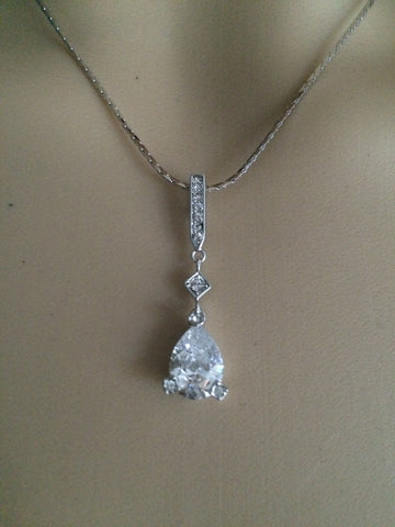 "CZ TEARDROP WEDDING NECKLACE ""PERFECT DAY"""