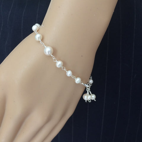 "DESIGNER FRESHWATER PEARL WIRE WORK BRACELET ""PURITY"""