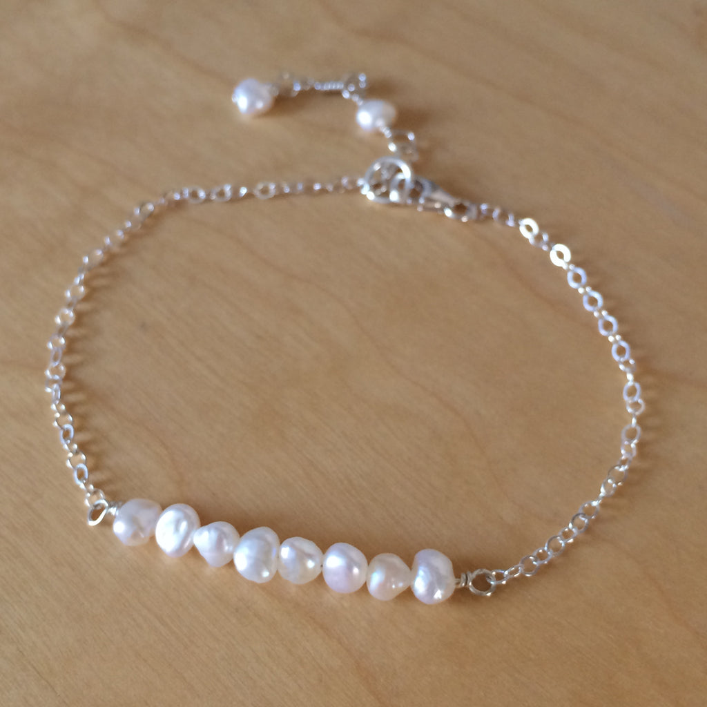 "TINY FRESHWATER SEED PEARL BAR BRACELET STERLING SILVER OR GOLDFILL  ""DELICATE BEAUTY"" FROM SHEROCKSBRIDALJEWELLERY.COM"
