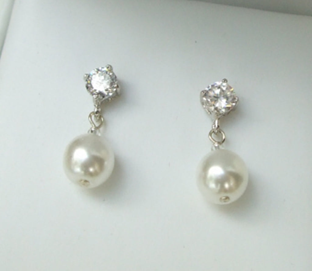 "BRIDE PEARL AND CZ DIAMOND STUD EARRINGS ""Sense and Sensibility"""