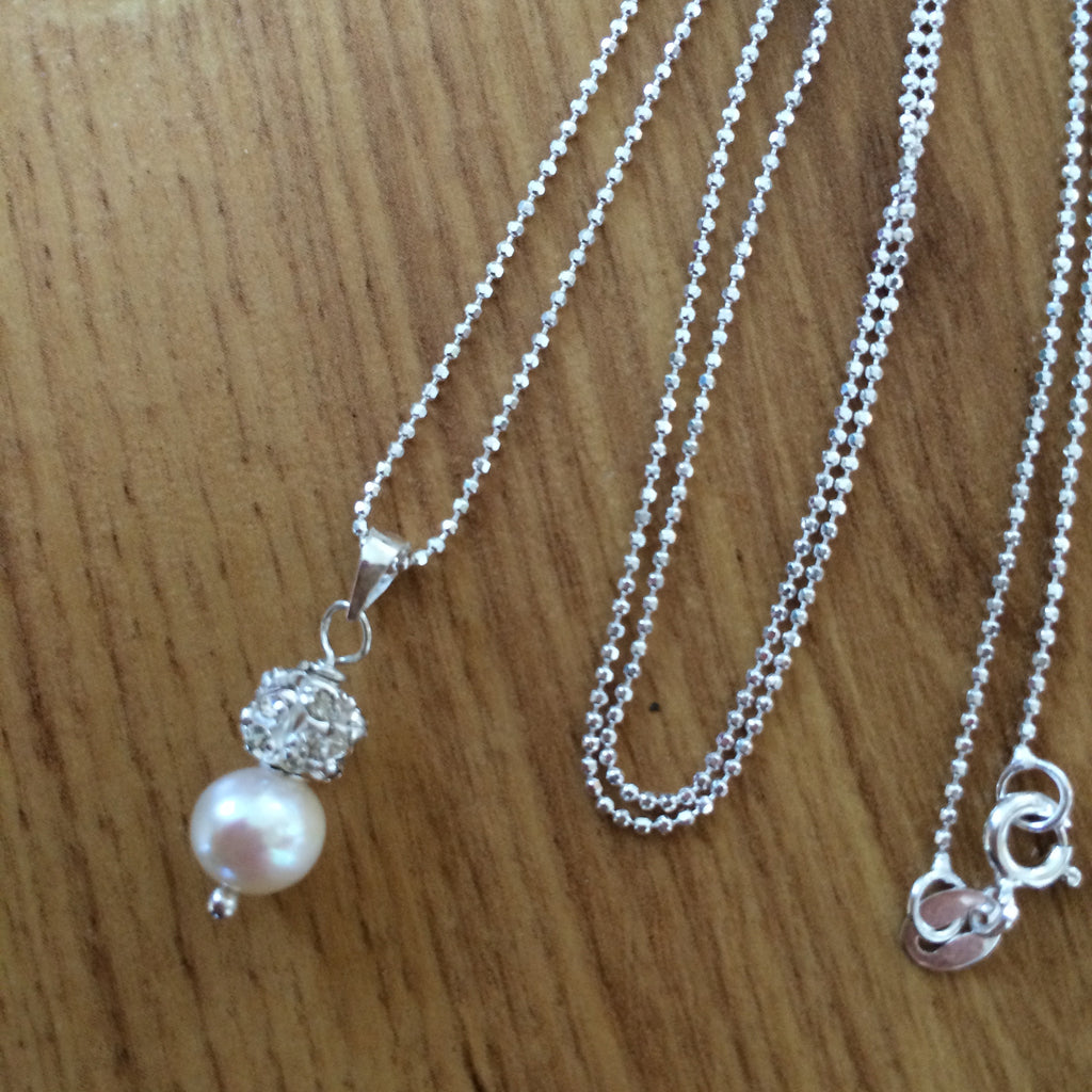 "FRESHWATER PEARL DROP BRIDAL NECKLACE ""SNOWDROP"""